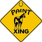 PAINT HORSE XING CROSSING EXT Aluminum Sign fun rustic farm ranch barn decor