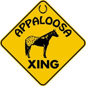 APPALOOSA HORSE XING CROSSING EXT Aluminum Sign fun rustic farm ranch barn decor