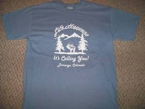 LIFE HAPPENS ITS CALLING XL Blu T-Shirt elk deer hunt
