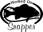 HOOKED ON SNAPPER Salt water fish fishing trip lure Car Wall Decal /Sticker LRG