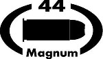 44 MAGNUM gun pistol Ammunition Bullet exterior oval decal sticker car or wall