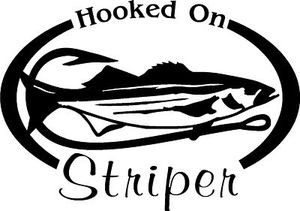 HOOKED ON STRIPERS Salt water fishing trip lure Car or Wall Decal /Sticker LRG