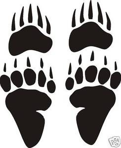 Large set of 4 Grizzly or Black BEAR TRACKS DECAL Sticker design for car or wall