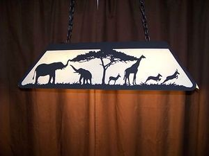 Awesome Laser cut Steel African Animal Lrg Pool Table Light Lamp Rustic Decor