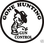 GONE HUNTING PISS GUN CONTROL DECAL
