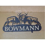 LASER CUT STEEL MailBox Topper 6x6 Fighting Bull Elk w/ your name or address