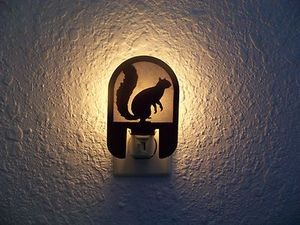 Awsome Laser cut SILVER SQIRREL NIGHT LIGHT deer cabin house decor hunt blind