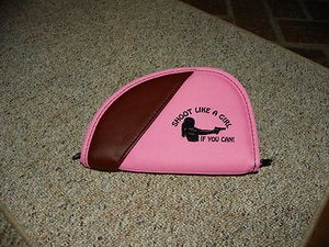 "Shoot Like a Girl PINK PISTOL Gun CASE RUG 8"" Fits small frame pistol revolver"