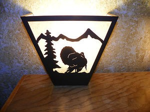 Awsome Laser Cut Steel Tom Turkey ANYWHERE SCONCE Pair X2 Lamp cabin home decor