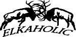 Elkaholic Fighting Elk 6 x 6 bulls decal sticker truck bow arrow blind deer hunt