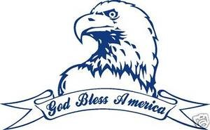 GOD BLESS AMERICA EAGLE Show your Freedom & Pride Decal wall or window sticker