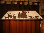 Laser cut Steel Fox & Whitetail Deer Pool Table Light Lamp hunt cabin Decor BLK