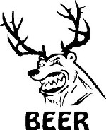 BEER Bear with deer, elk antlers funny bar liquor man cave fridge Decal Sticker
