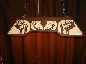 ELK Bugling 6 pt Anlters Laser cut steel Pool Table Light Lamp hunt cabin Decor