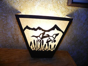 Awsome Laser Cut Steel Ducks ANYWHERE SCONCE Pair X2 Lamp cabin home decor