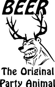 BEER The Original party animal Funny Bear with deer, elk Antler DECAL Sticker