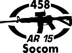458 SOCOM AR 15 gun Rifle Ammunition Bullet exterior oval decal sticker car wall