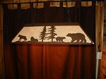 Laser cut Steel BEAR & WOLF Lrg Pool Table Light Lamp rustic hunt cabin Decor