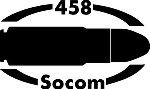 458 SOCOM gun Rifle Ammunition Bullet exterior oval decal sticker car wall
