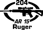 204 RUGER AR 15 gun Rifle Ammunition Bullet exterior oval decal sticker car