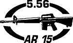 5.56 AR 15 gun Rifle Ammunition Bullet exterior oval decal sticker car wall