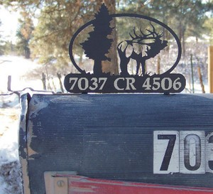 LASER CUT STEEL MailBox Topper 6x6 Bugling Bull Elk w/ your name or address