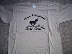 THE ORIGINAL FAST FOOD funny hunting T Shirt MED Tan Running Antelope Deer scene
