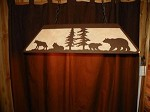 Laser cut Steel Wolf & Bear Desk Pool Table Light Lamp rustic hunt cabin BLACK