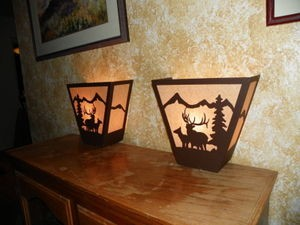 Awsome Laser Cut Steel ELK PAIR ANYWHERE SCONCE Pair X2 Lamp cabin home decor