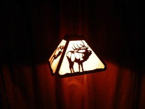 Laser cut Steel BUGLING ELK Bar Desk Pendant Light Lamp rustic hunt cabin