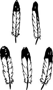 SET OF 5 EAGLE FEATHERS INDIAN CAR TRUCK WALL DECAL STICKER