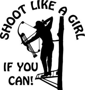 Large SHOOT LIKE A GIRL If You Can BOW deer elk hunt Circle car decal sticker