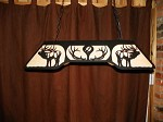 ELK Bugling 6 pt Anlters Laser cut steel BLACK Pool Table Light Lamp hunt cabin