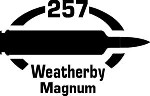 257 Weatherby Mag gun Rifle Ammunition Bullet exterior oval decal sticker car