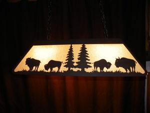 Awesome Laser cut Steel BUFFALO Pool Table Light Lamp rustic hunt cabin BLACK