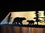 NEW X Large Laser cut Steel BEAR & WOLF Pool Table Light Lamp rustic hunt cabin