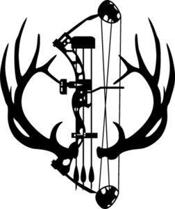 Large 7 point elk rack antlers decal with compund bow arrow archery deer hunt