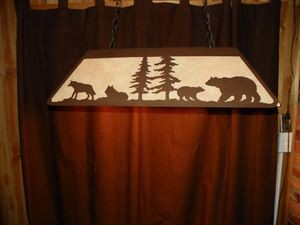 Laser cut Steel Wolf & Bear Desk Pool Table Light Lamp rustic hunt cabin office