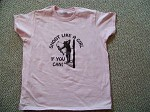 Shoot Like a Girl if you can T-Shirt archery bow hunt ladies Pink Heavy Cotton S