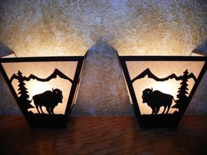 Laser Cut Steel WHITETAIL DEER PAIR ANYWHERE SCONCE Pair X2 Lamp cabin decor