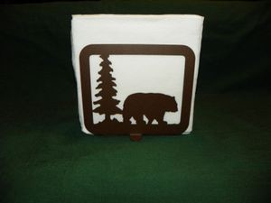 Laser Cut Steel Napkin Holder kitchen table home decor Black Grizzly Bear trees