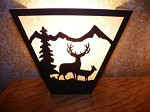 Laser Cut Steel MULE DEER PAIR ANYWHERE SCONCE Pair X2 Lamp cabin home decor