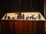 X Large Laser cut Steel Whitetail Deer & Turkey Pool Table RustLight Lamp hunt