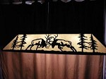 X Large Laser cut Steel Fighting 6X6 BULL ELK Pool Table Light Lamp Hunt Cabin