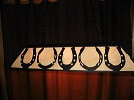 X Large Laser cut Steel HORSE SHOE Pool Table Light Lamp hunt cabin BLACK