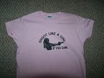 Shoot Like a Girl if you can T-Shirt PISTOL GUN hunt ladies Pink Hvy Cotton MED