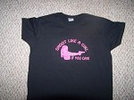 Shoot Like a Girl if you can T-Shirt PISTOL GUN hunt ladies Pink Hvy Cotton L