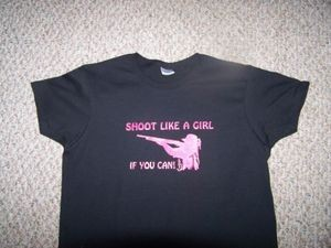 Shoot Like a Girl if you can T-Shirt SHOT GUN hunt ladies Black Hvy Cotton L