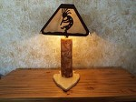 ASPEN Log LAMP Your Choice Laser cut steel Shade Rustic Elk Deer Kokopelli more